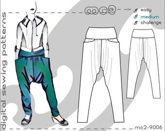 Harem Sarouel Afghan Pants with Yoke & Pockets (sizes: uk 6-24/ usa 2-20) Digital PDF Sewing Pattern for Women >mc2patterns< mc2-9006