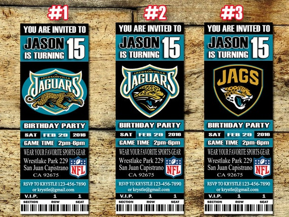 jacksonville jaguars birthday ticket invitation football sport ticket. Cars Review. Best American Auto & Cars Review