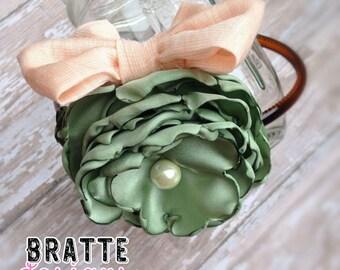 Soft Green Singed Satin Headband