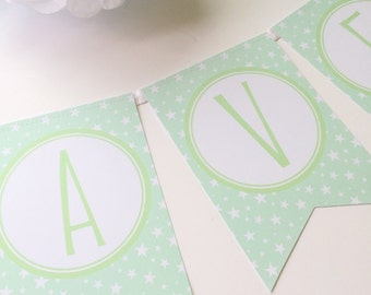 Personalised Mint Green Star Pattern Bunting. Nursery   Baby Shower   Christening   Bedroom   New Baby   Birthday Party Decor