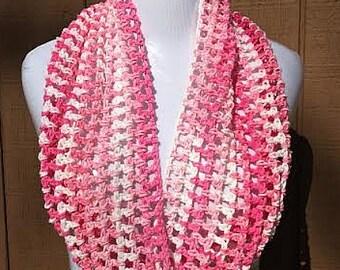 Crochet Scarf, Cotton Scarf, Summer Scarf, Lightweight Scarf, Pink Scarf, Crochet Summer Scarf, Spring Scarf, Fashion Scarf, Summer Cowl
