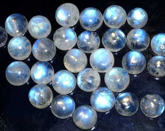 4x4 mm Round Cabochon  Natural Rainbow Moonstone Blue Flashy AAA Quality Loose Gemstone.