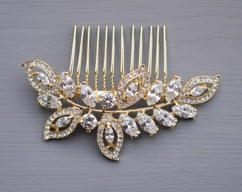 Gold Leaf Wedding Comb, Crystal Wedding Comb, Gold Leaf Hair Comb, Crystal Leaf Wedding Comb, Crystal Leaf Bridal Comb, Wedding Hair Comb