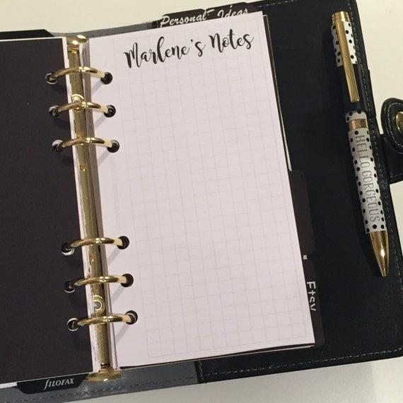Personalized Planner Inserts On Grid | Personal Size Planners | Filofax Kikki k