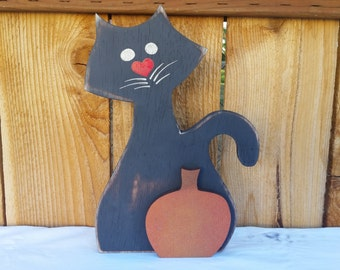 Halloween Black Cat with Pumpkin - Halloween Black Cat - Halloween Decoration -  Wooden Black Cat - Halloween Party Decor