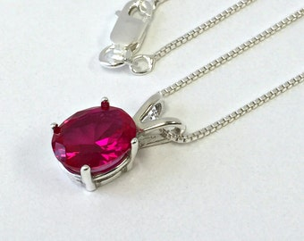 925 Sterling Silver pendant 3 ct. created Ruby Rose Chain Necklace Jewelry. US@GEMS