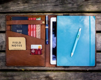 Leather iPad Air and  Pro 9.7  and XLarge Moleskine Cover, Personalized, Journal, Ipad Air Case, Brown