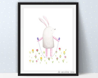 Bunny print Kids room wall art Watercolor rabbit illustration Bunny nursery art print Play room decor woodland theme