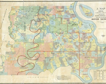 1891 Map of Madison Parish (County) Louisiana Tallulah