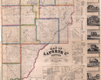 1866 Farm Line Map of LaPorte County Indiana