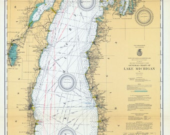 1930 Nautical Map of Lake Michigan