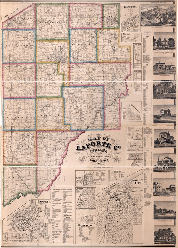 1866 farm line map of laporte county indiana for Laporte county