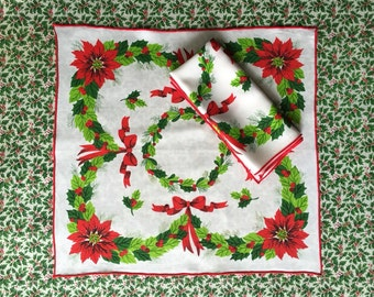 Vintage Christmas Holly & Poinsettia Napkins - Vibrant Colors - 2 Cloth Napkins