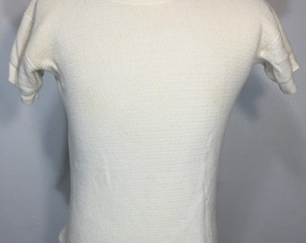 60's vintage short sleeve thermal t shirt 100% cotton size large