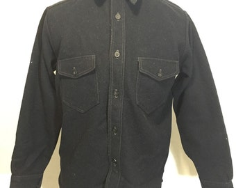 60's vintage wool CPO shirt wool black leather elbow patches button up