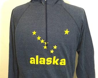 80's vintage navy blue hoodie 50/50 alaska made in usa size large