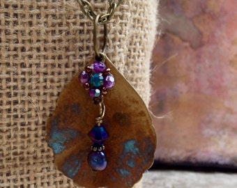 Green, Blue and Purple Patina Necklace