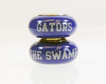 Florida Gators Glass Bead Fits European Style Bracelets