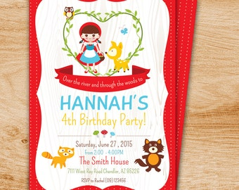 Little Red Riding Hood Birthday Party printable invitation - Little Red Riding Hood Birthday Party Invite