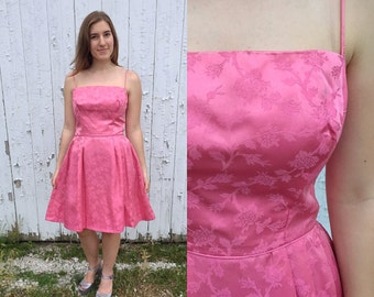 60s dress / 1960s dress / 1960s hot pink brocade party dress / pink brocade party dress / vintage party dress / mod dress / medium