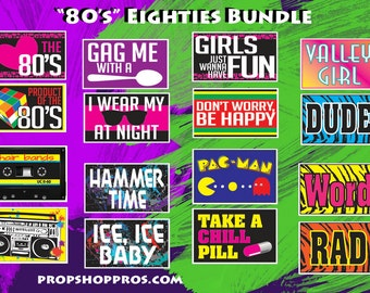 80's Props | 80's Signs | Photo Booth Props | Prop Signs
