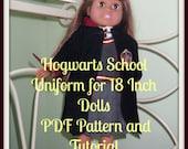 Hogwarts School Uniform Sewing Pattern - American Girl Dolls, Hermoine Granger, Griffyndor Uniform 18 inch Doll - PDF Sewing Tutorial