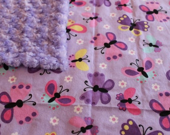 Pretty Butterfly Baby Blanket - Purple with Butterfly Print