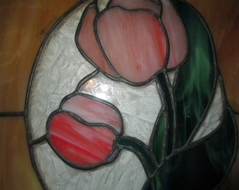 STAINED GLASS TULIP Hanging, Stained Glass Hanging, Stained Glass Tulips, Stained Glass Panel, Stained Glass Tulip Panel