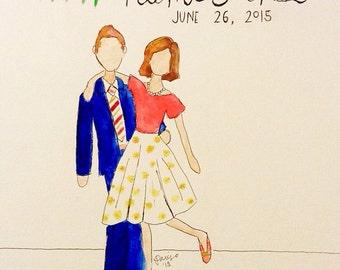 Custom Couple Watercolor Portrait (simple)