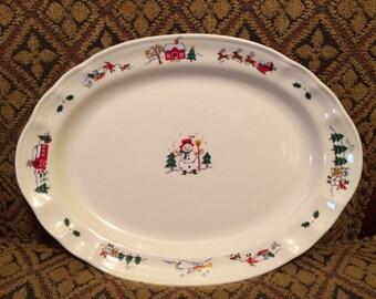 "1990s Pfaltzgraff Snow Village 14"" Oval Serving Platter"