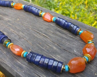 Lapis lazuli carnelian turquoise pyrite gold necklace