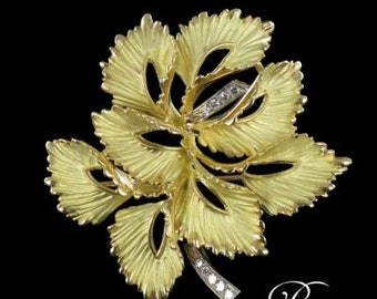 Brooch gold leaf mat gold 18K diamond jewelry vintage