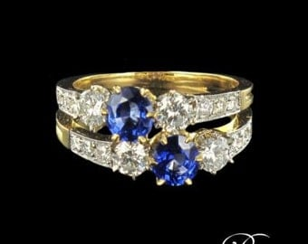 Sapphire diamond ring you me yellow gold 18K Platinum 19th modern