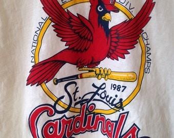 Cardinals St. Louis baseball MLB vintage 1987 deadstock ringer t-shirt Medium
