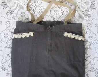 Reversible Market Bag / Overnight Bag / Weekender / Large Tote Bag with 5 Pockets, Upcycled
