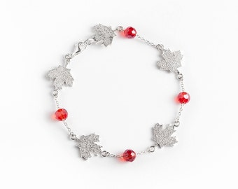 Bracelet 925 sterling silver maple leaves and Red Swarovski stones