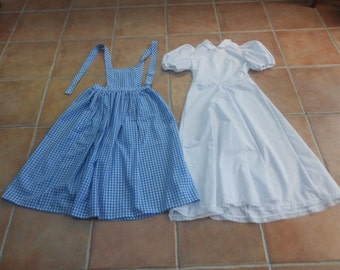 Girls Dorothy Dress. Blue and White Gingham. Pioneer Prairie Colonial Dress. World Book Day