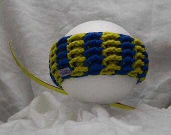 Headband blue and acid green Papilau
