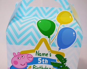 Peppa Pig George Personalised Children's Party Box Gift Bag Favour