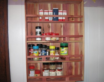 Handmade Cedar Wood Spice Rack, kitchen, storage, collectibles, salt and pepper shakers