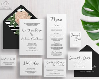Printable Wedding Invitation Suite Calligraphy / Black and White / Invitation Set / Save the Date / Custom / Download / Caitlyn Suite