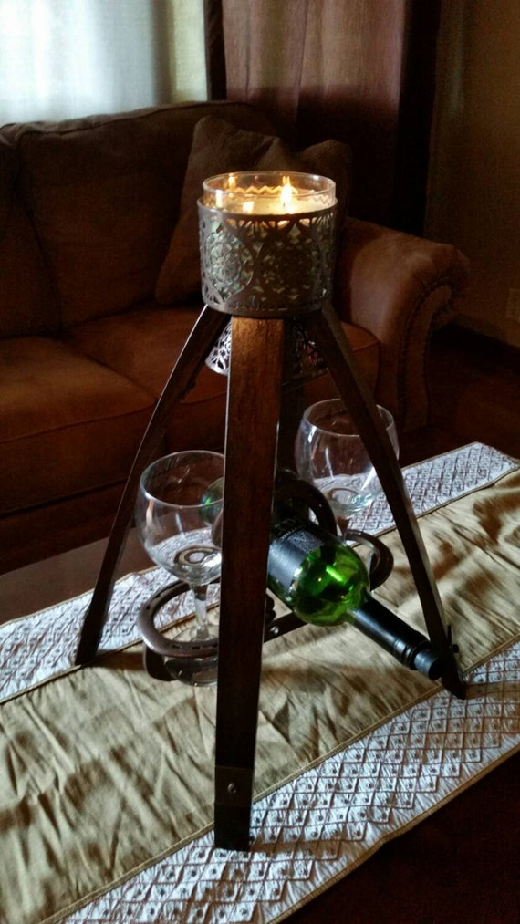 Wine bottle and glass holder candle centerpiece