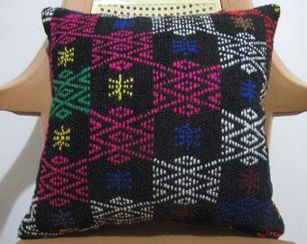 16 x 16 Bohemian Decorative Sofa Pillow Accent Pillow Case Rustic Pillow Aztec Pillow Multi Color Embroidery Turkish Tribal Pillow