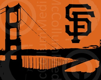 Golden Gate Bridge with SF Giants logo print