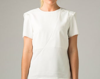 FRAYED CADET TOP  | In White |  Womens Blouse