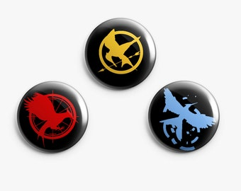 The hunger games Pinback Buttons 1Inch.Buttons Badges, The Hunger Games trilogy logo pinbakc buttons, Katniss pin, Complete set of 3