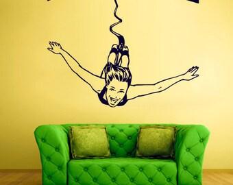 rvz761 Wall Vinyl Sticker Bedroom Decal Jump Girl Sky Fly Sport