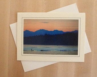 Alki Beach Paddle Board at Sunset Photo Greeting Card