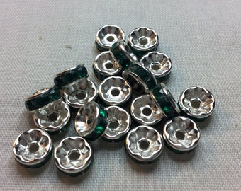 Rondell spacer silver and green 8mm