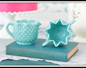 Fenton Hobnail Aqua Star Crimped Sugar and Creamer